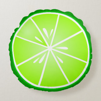 Fresh Lime Slice Round Pillow
