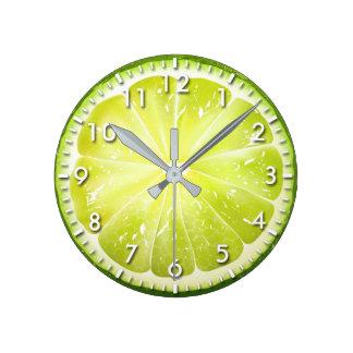 Fresh Lime Slice S01 Round Clock