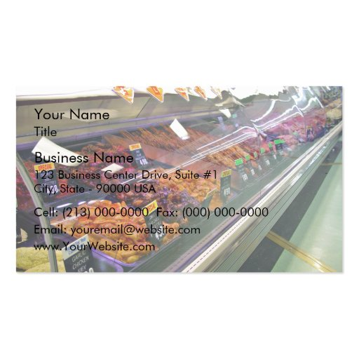 Fresh Meat Deli Counter at supermarket Business Card