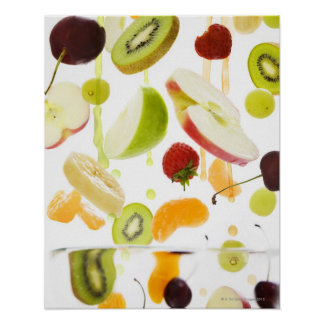 Fresh mixed fruit with apple & orange juice poster
