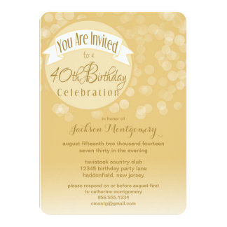 "Fresh & Modern Bokeh 40th Birthday Party Invite 4.5"" X 6.25"" Invitation Card"