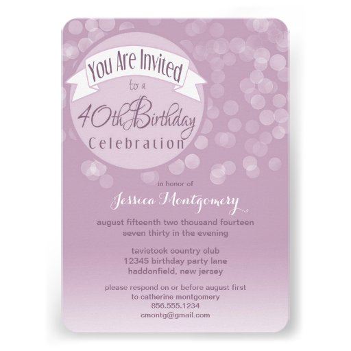 Fresh & Modern Bokeh 40th Birthday Party Invite