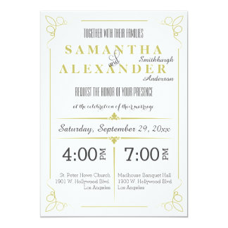 Fresh Olive Green Art Deco Wedding Invitation