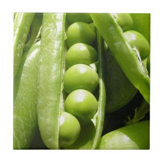 Fresh open green pea pods in sunlight small square tile