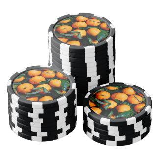 Fresh orange fruits poker chips