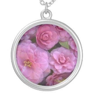 Fresh, Pink,  Bunchy Camellias Round Pendant Necklace