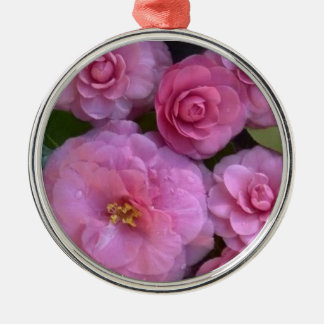 Fresh, Pink,  Bunchy Camellias Silver-Colored Round Decoration