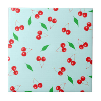 Fresh Pink Cherries on a Mint Background Ceramic Tile