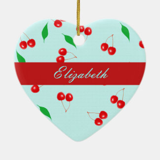 Fresh Pink Cherries on a Mint Background Ornaments