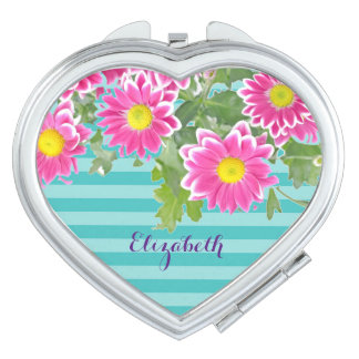 Fresh Pink Daisy Flowers on Turquoise Stripes Compact Mirror