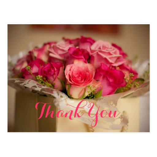Fresh Pink Roses Bouquet Wedding Gift Thank You Postcards