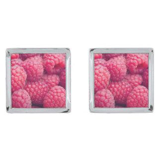 Fresh raspberries silver finish cuff links