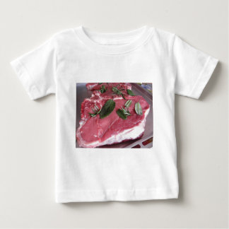 Fresh raw marbled meat steak baby T-Shirt