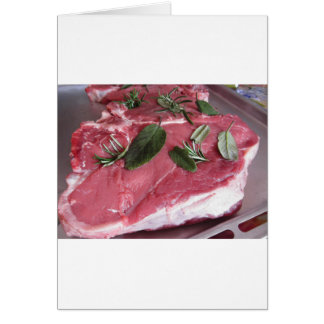 Fresh raw marbled meat steak card