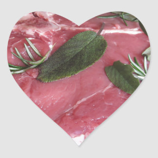 Fresh raw marbled meat steak heart sticker