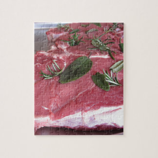 Fresh raw marbled meat steak jigsaw puzzle