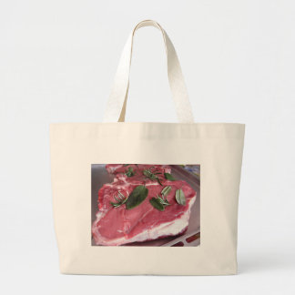 Fresh raw marbled meat steak large tote bag