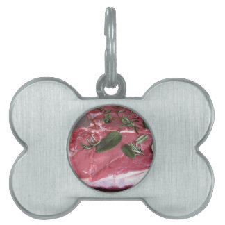 Fresh raw marbled meat steak pet tag