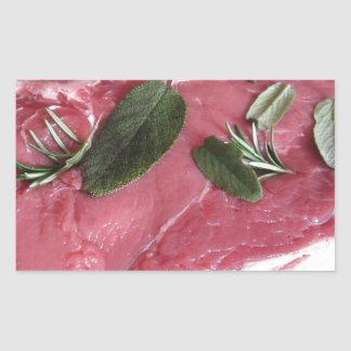 Fresh raw marbled meat steak rectangular sticker