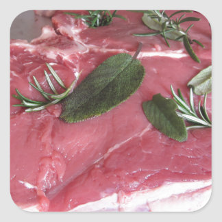 Fresh raw marbled meat steak square sticker
