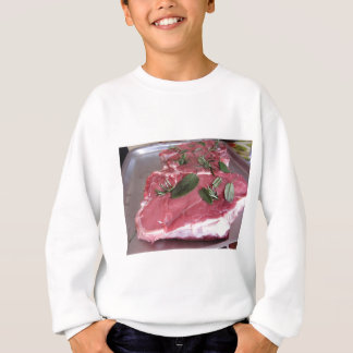 Fresh raw marbled meat steak sweatshirt