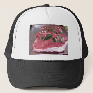 Fresh raw marbled meat steak trucker hat