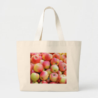 Fresh red and yellow apples canvas bags