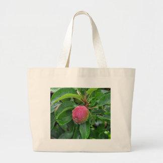 Fresh red apple on tree large tote bag