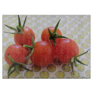 Fresh Red Cherry Tomatoes. Cutting Board