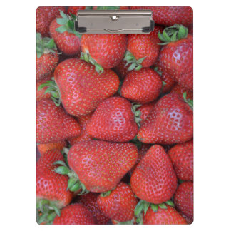 Fresh red strawberries clipboard