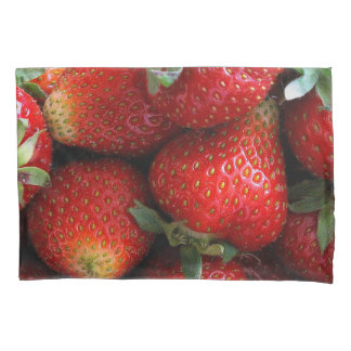 Fresh red strawberry fruits pillowcase