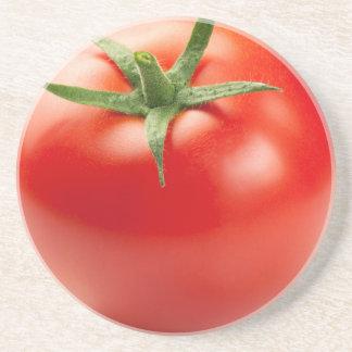 Fresh Red Tomato Isolated On White Background Coaster