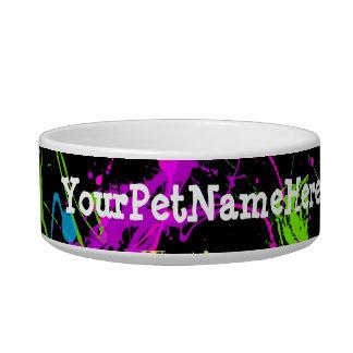 Fresh Retro Neon Paint Splatter on Black Bowl
