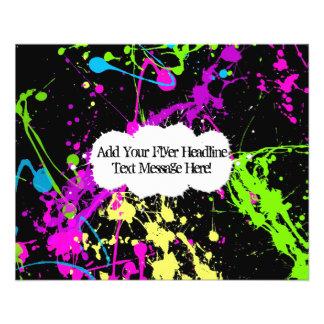 Fresh Retro Neon Paint Splatter on Black Flyer