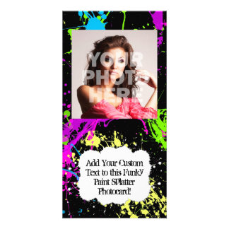 Fresh Retro Neon Paint Splatter on Black Photo Card