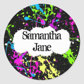 Fresh Retro Neon Paint Splatter on Black Round Sticker