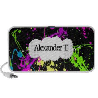 Fresh Retro Neon Paint Splatter on Black Mp3 Speakers