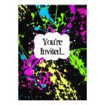 Fresh Retro Neon Paint Splatter Party Invitation