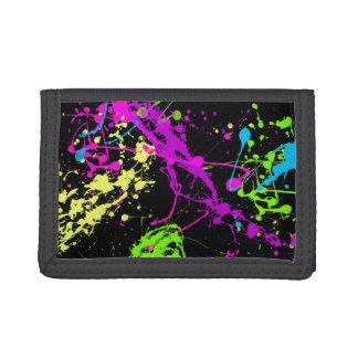 Fresh Retro Neon Paint Splatter Tri-fold Wallets