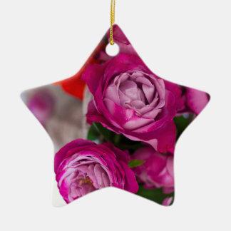fresh roses ceramic ornament