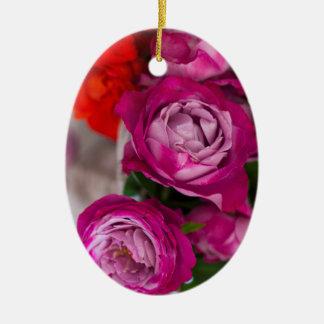 fresh roses ceramic oval decoration