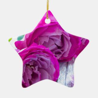 fresh roses ceramic star decoration