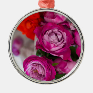 fresh roses metal ornament