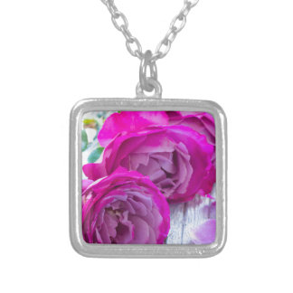 fresh roses silver plated necklace