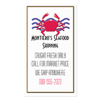 fresh seafood business card