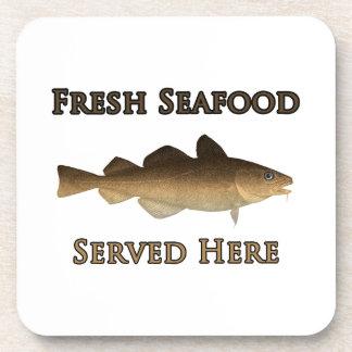 Fresh Seafood Logo (Atlantic Cod) Beverage Coaster