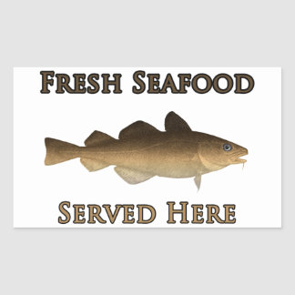 Fresh Seafood Logo (Atlantic Cod) Rectangular Sticker