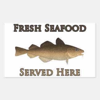 Fresh Seafood Logo (Atlantic Cod) Rectangular Sticker