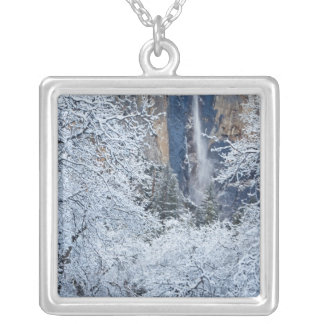 Fresh snowfall in the trees below Bridalveil Square Pendant Necklace