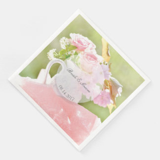 Fresh Spring Flower Bouquet editable wedding Disposable Serviette